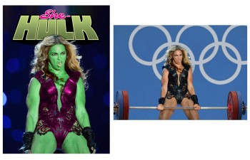 Beyonce as Hulk and at the Olympics