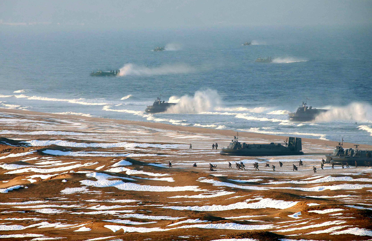 North Korea Military Exercise Hovercraft